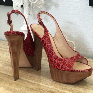 Giuseppe Zanotti Snakeskin Embossed Leather Heels